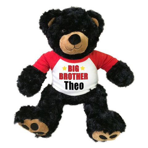 "Big Brother Teddy Bear - Personalized 12"" Black Vera Bear"