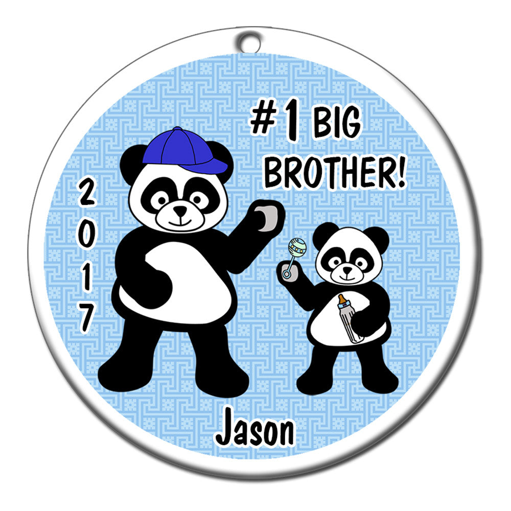 Big Brother Christmas Ornament Part - 22: Big Brother Panda Personalized Christmas Ornament. $ 12.95
