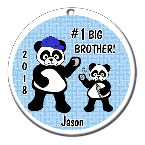 Big Brother Panda Personalized Christmas Ornament