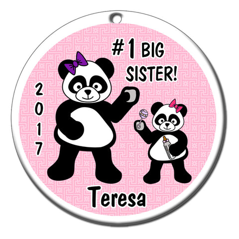 Personalized Big Sister Panda Christmas Ornament