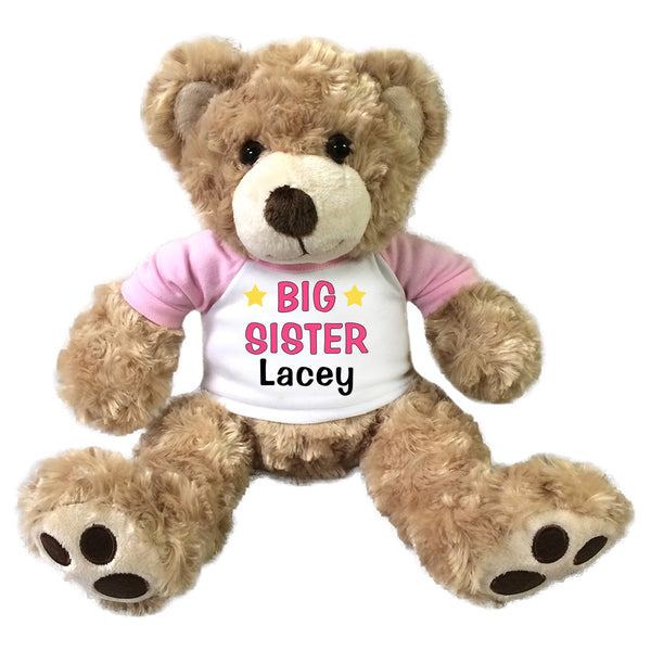 "Big Sister Teddy Bear - Personalized 13"" Honey Vera Bear Pink"