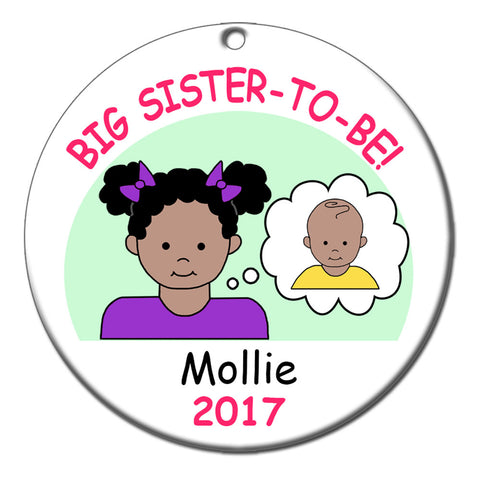 Personalized Big Sister to Be Ornament