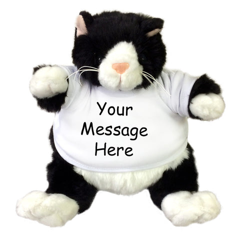 Personalized Stuffed Cat - 9 inch Black and White Plumpee Cat