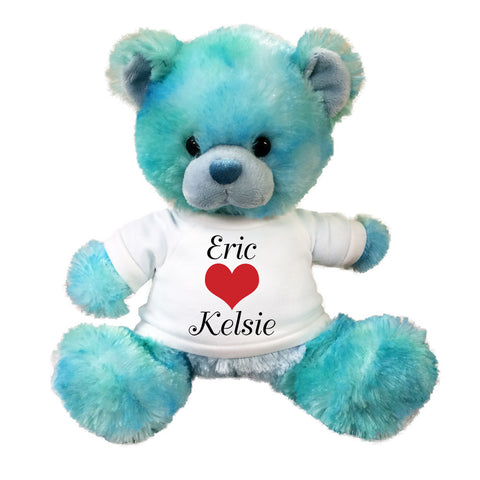 "Personalized Valentine Teddy Bear - 10"" Blueberrydrop Bear"
