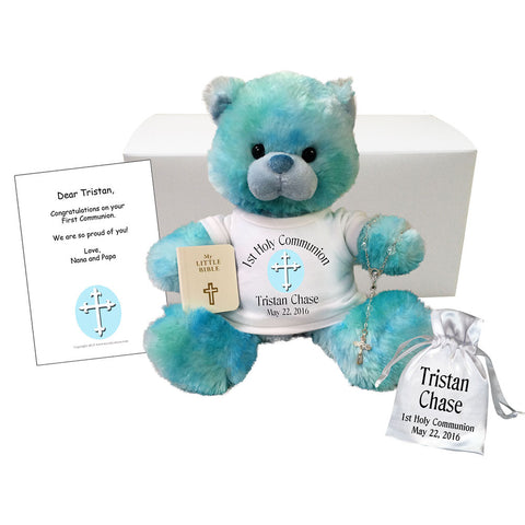 Personalized First Communion Teddy Bear Gift Set - Blueberry Drop Bear