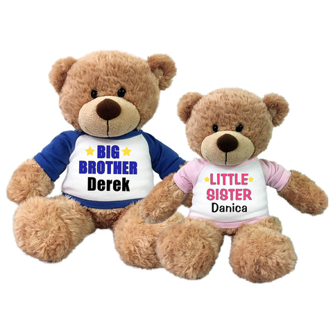 Big Brother / Little Sister Personalized Teddy Bears - Set of 2 Bonny Bears