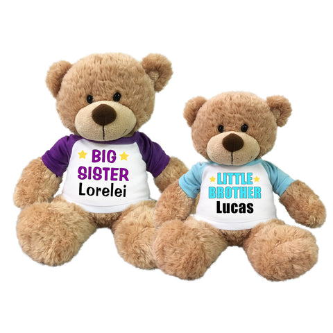 Big Sister / Little Brother Personalized Teddy Bears - Set of 2 Bonny Bears