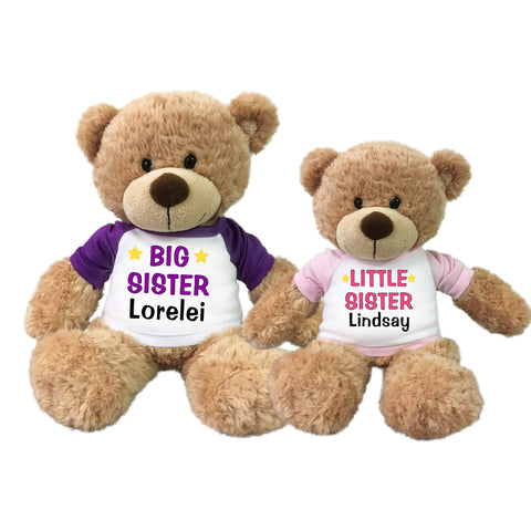 Big Sister / Little Sister Personalized Teddy Bears - Set of 2 Bonny Bears