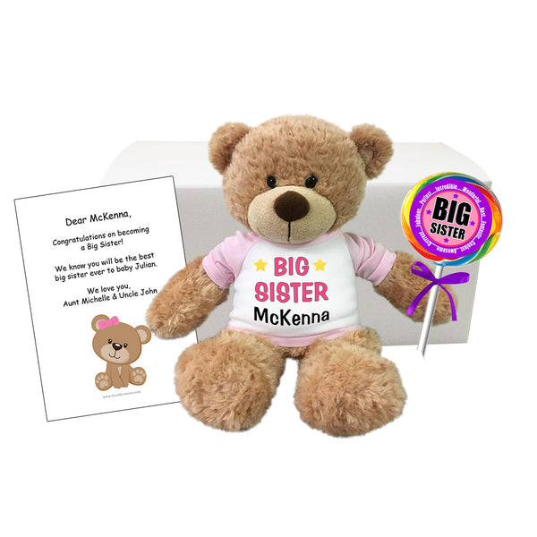 "Big Sister Personalized Teddy Bear Gift Set - 13"" Bonny Bear"