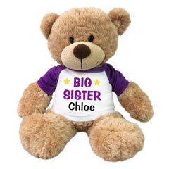 "Big Sister Teddy Bear - Personalized 13"" Bonny Bear Purple"