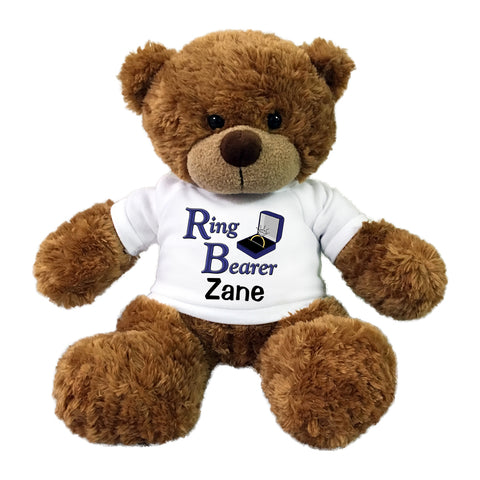 "Ring Bearer Teddy Bear -  Personalized 13"" Bonny Bear - Brown"