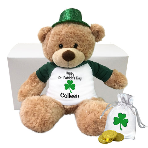 "Personalized St. Patrick's Day Teddy Bear Gift Set - 13"" Bonny Bear"