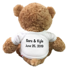 Back of personalized ring bearer teddy bear