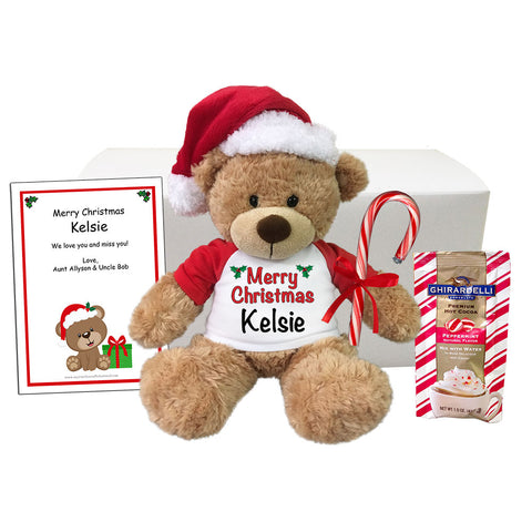 "Personalized Teddy Bear Christmas Gift Set - 13"" Bonny Bear"
