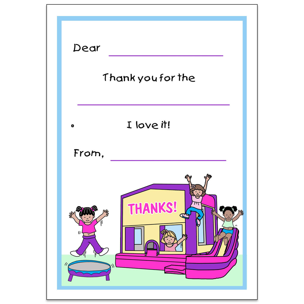 bounce house birthday party fill in thank you notes for kids