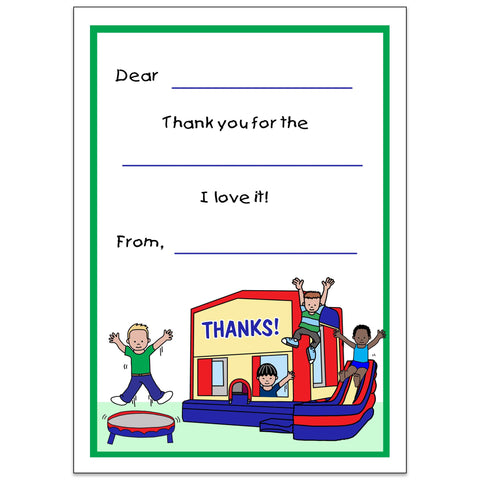 Bounce House Thank You Note for Boys