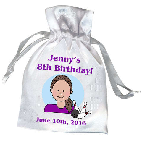 Bowling Kid Personalized Party Favor Bag - Girl