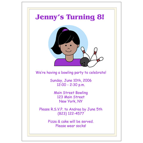 Bowling Birthday Party Invitations for Girls