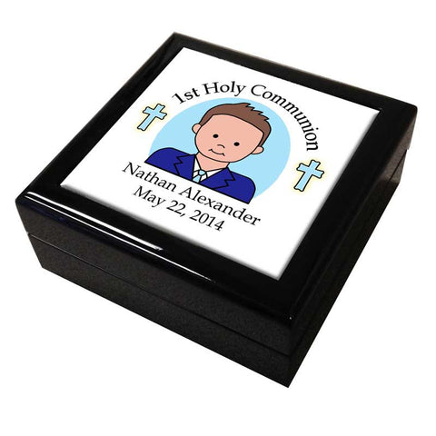 First Communion Personalized Ceramic Tile Keepsake Box - Boy