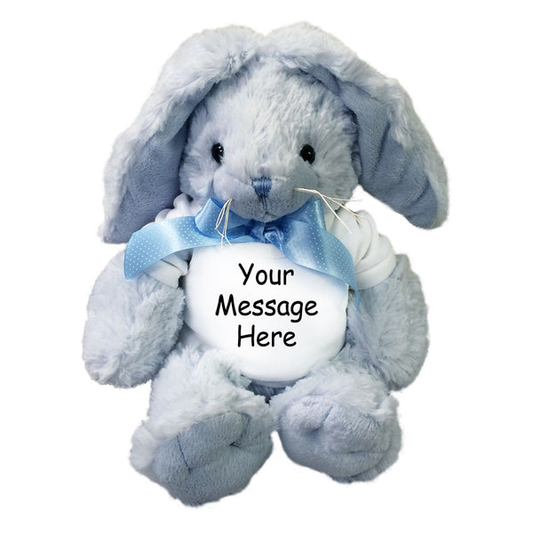 Personalized Stuffed Rabbit - 12 inch Blue Unipak Plush Bunny