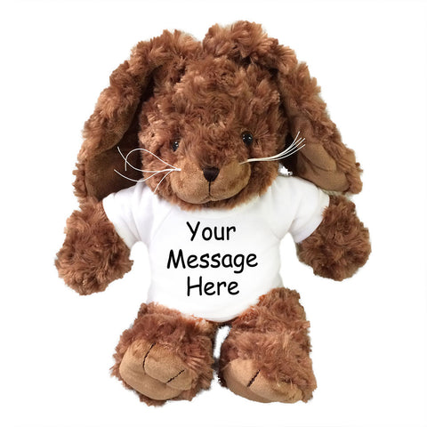 Personalized Stuffed Rabbit - 12 inch Brown Unipak Plush Bunny