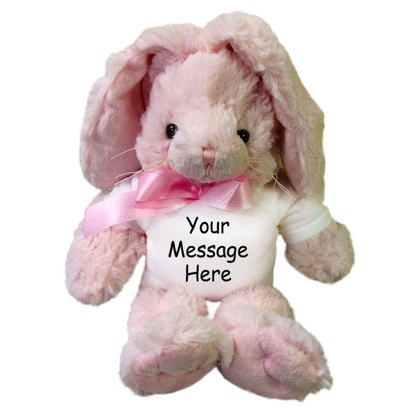 Personalized Stuffed Rabbit - 12 inch Pink Unipak Plush Bunny