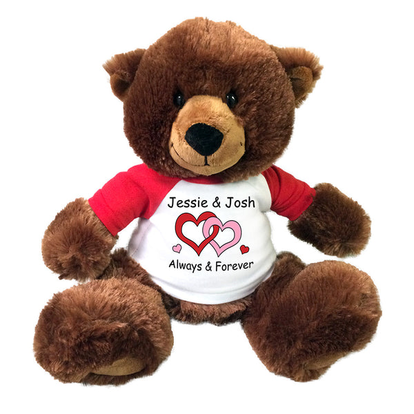 "Personalized Valentine Teddy Bear - 14"" Brown Buxley Bear"