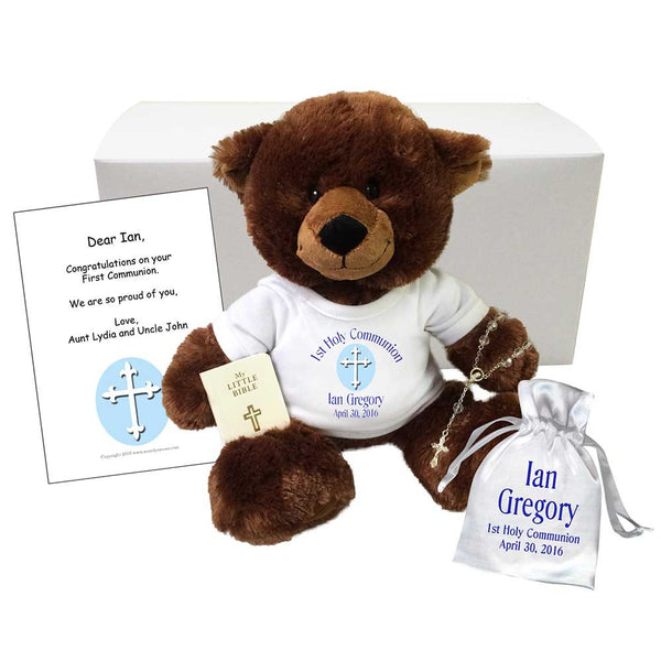 Personalized First Communion Teddy Bear Gift Set - Brown Buxley Bear