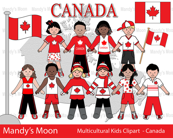 Multicultural Kids Clipart - CANADA (Personal & Nonprofit Use only)