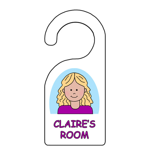 Cartoon girl personalized door hanger