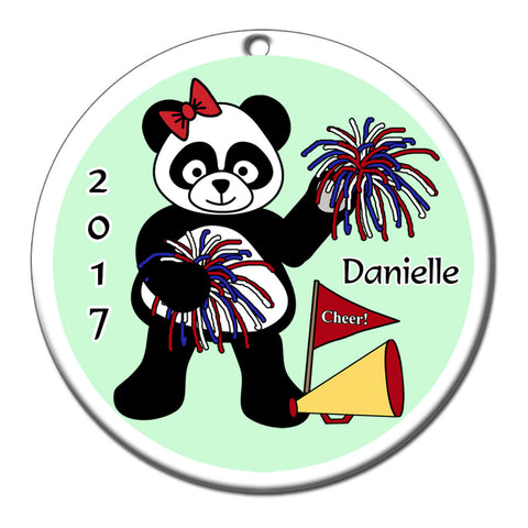 Cheerleading Panda Christmas Ornament