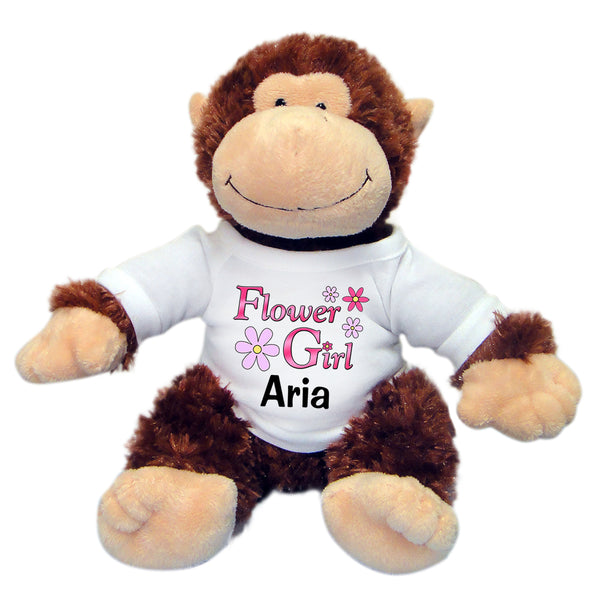 "Flower Girl Stuffed Monkey -  Personalized 12"" Plush Chimp"