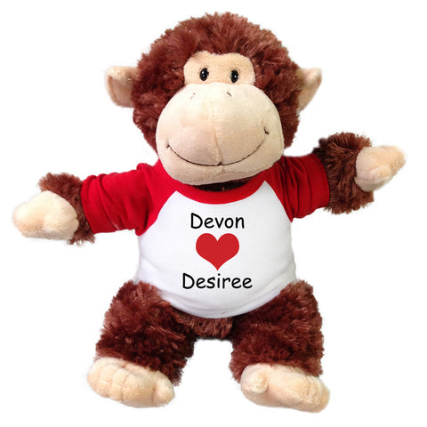 "Personalized Valentine Monkey - 12"" Plush Chimpanzee"