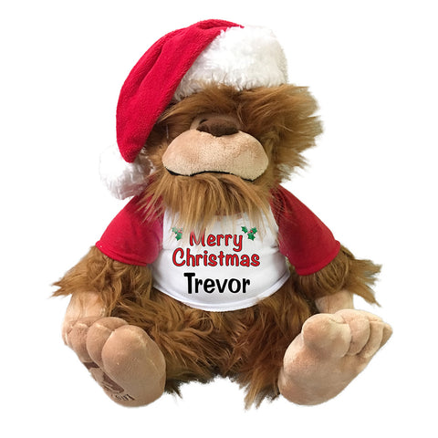 Personalized Stuffed Bigfoot - Christmas version, 16""