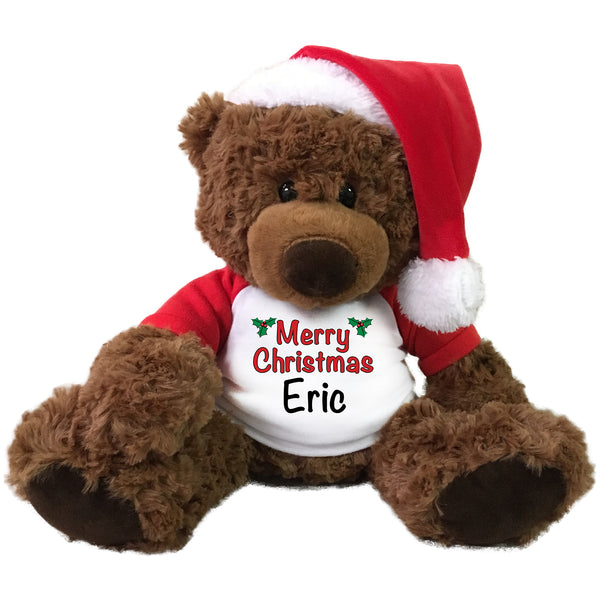 "Personalized Christmas Teddy Bear - 13"" Coco Bear with Santa Hat"