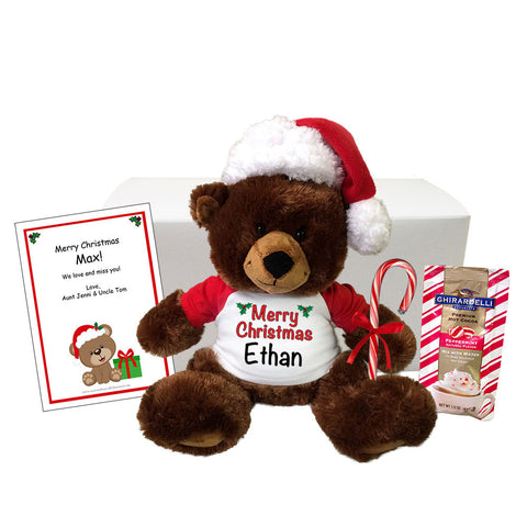 "Personalized Teddy Bear Christmas Gift Set - 14"" Buxley Bear"