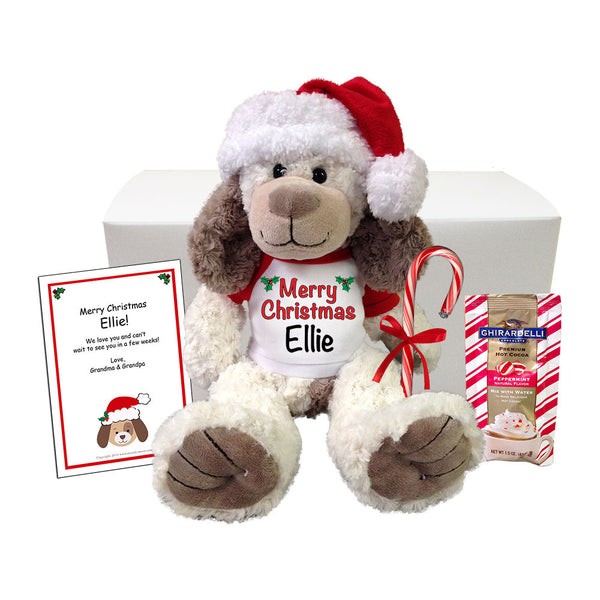 "Personalized Stuffed Dog Christmas Gift Set - 14"" Cream and Brown Dog"