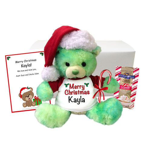 "Personalized Teddy Bear Christmas Gift Set - 10"" Green Limedrop Bear"