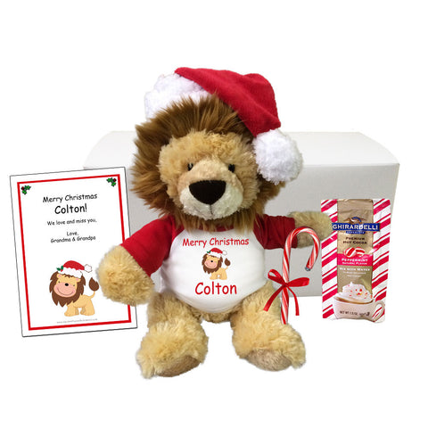 "Personalized Stuffed Lion Christmas Gift Set - 12"" Plush Lion"