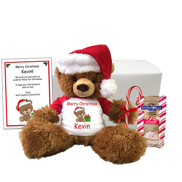"Personalized Teddy Bear Christmas Gift Set - 14"" Brown Tummy Bear"