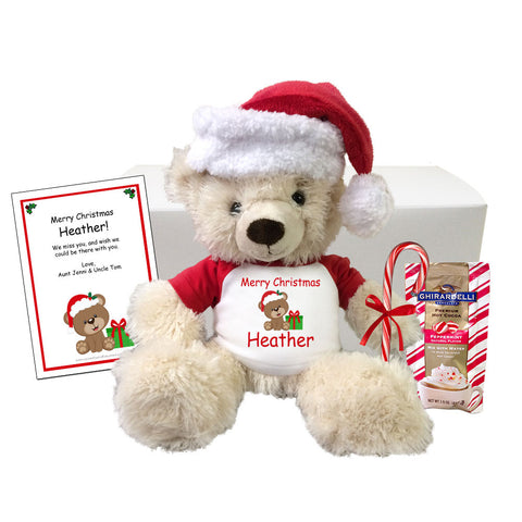 "Personalized Teddy Bear Christmas Gift Set - 14"" Cream Tummy Bear"