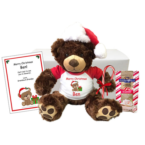 "Personalized Teddy Bear Christmas Gift Set - 13"" Brown Vera Bear"