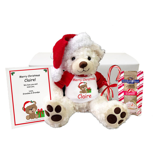 "Personalized Teddy Bear Christmas Gift Set - 13"" White Vera Bear"