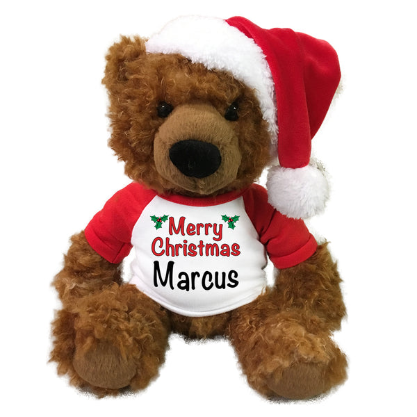 "Personalized Christmas Teddy Bear - 14"" Cinnamon Curly Hair Bear with Santa Hat"