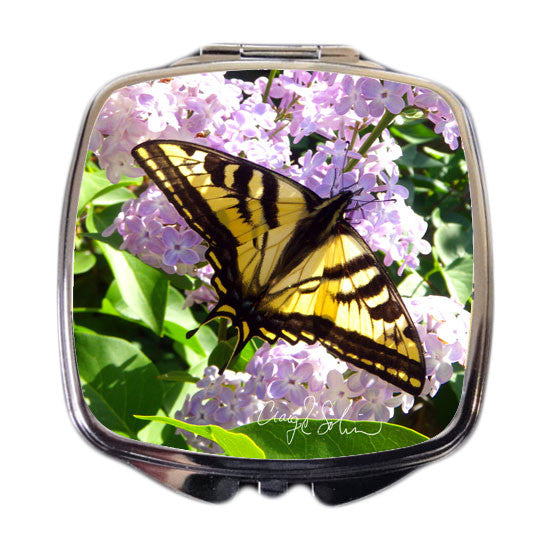 Butterfly on Lilacs Compact Mirror