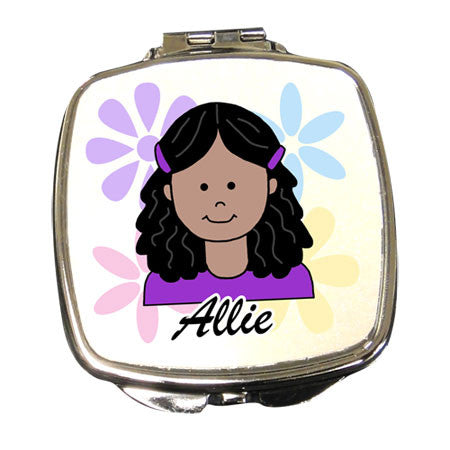 Cartoon Girl Compact Mirror Personalized