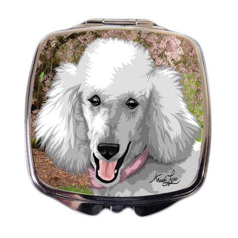 Poodle Compact Mirror - White
