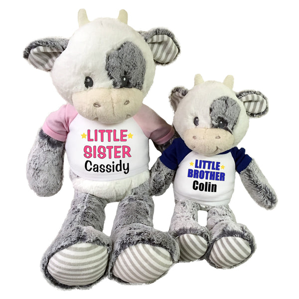 "Big Sister / Little Brother Personalized Stuffed Cows - Set of 2 Coby Cows, 20"" and 12"""