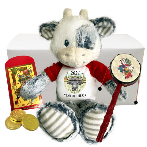 Year of the Ox 2021 Chinese New Year Stuffed Animal Gift Set - 12""