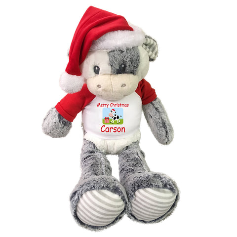 Personalized Christmas Cow - 20 Inch Coby Cow with Santa Hat